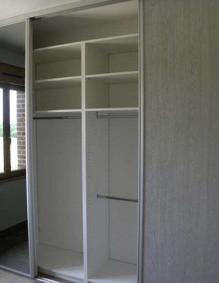 dressing blanc - façade coulissante cérusé gris
