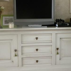 meuble tv laqué blanc patine chocolat