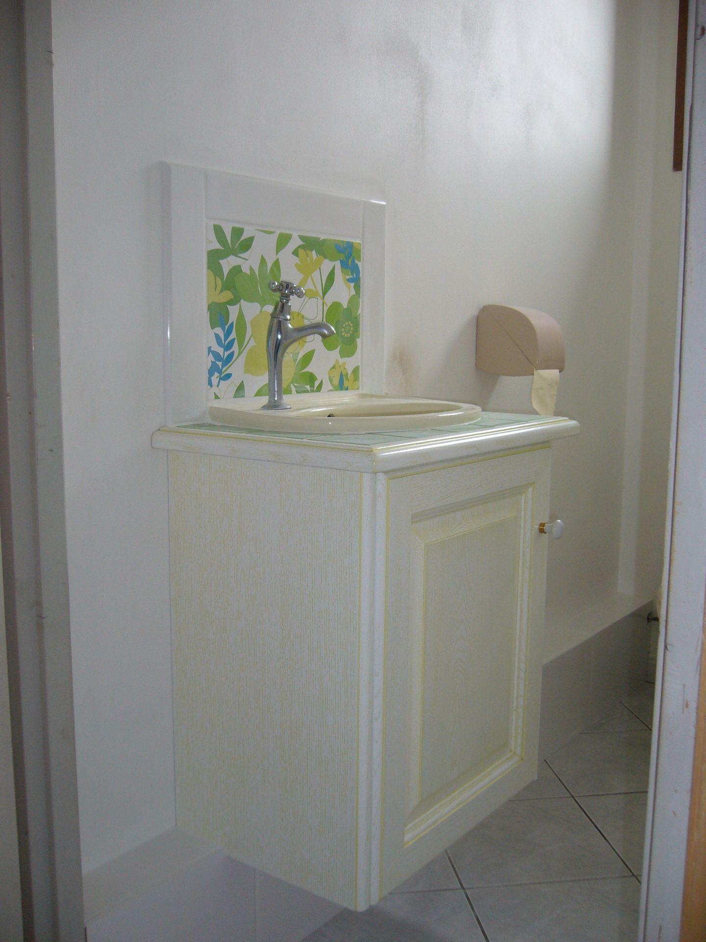 Salle de bains blanc vert gilles martel Salle de bains blanc